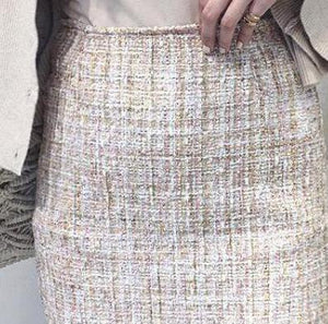 2018 New Winter Style Small Sequins Tweed Mini Skirt Elegant High Waistliilgal-liilgal