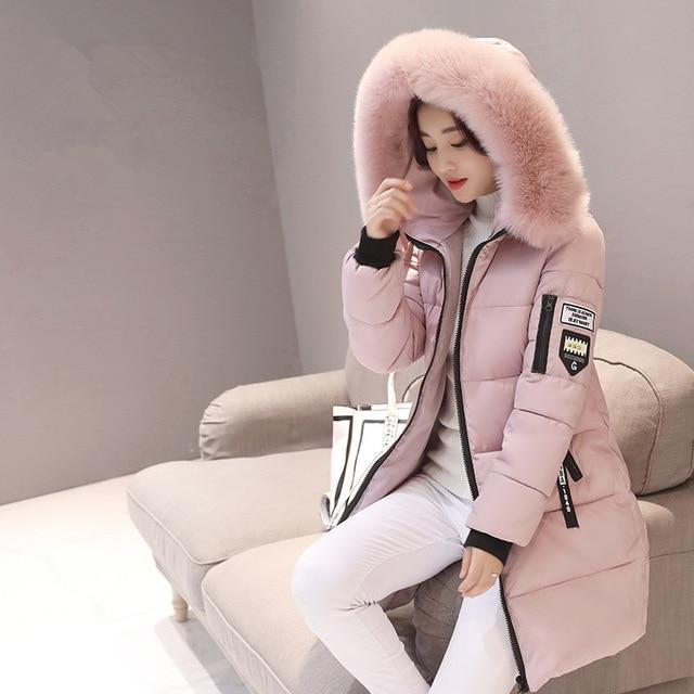 2018 New Women Parkas Warm Thick Cotton Ladies Long Parkas Hooded Coatliilgal-liilgal