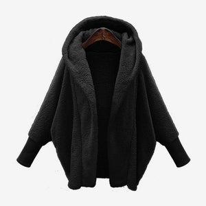 Women's Hooded Double-faced Plush Jacket Pure Color Open Stitch Female Parkas 2018liilgal-liilgal