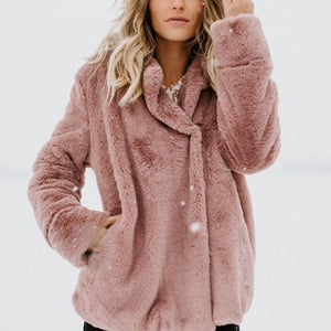 Winter Women Long Faux Fur Coat Loose Tops Thick Plush Outerwear Turnliilgal-liilgal