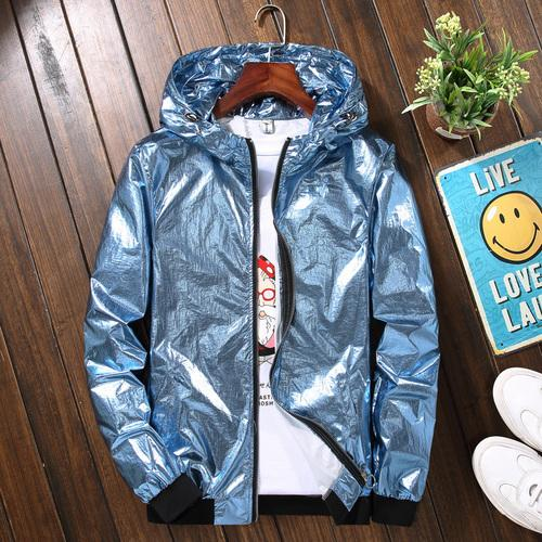 Silver Hooded Jacket Men Summer Autumn Thin Handsome Sunscreen Clothes Hipliilgal-liilgal