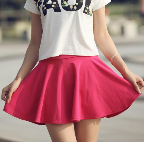 Summer Solid Color Pleated Skirt Sexy Mini Short Skirts High Waist Elasticliilgal-liilgal