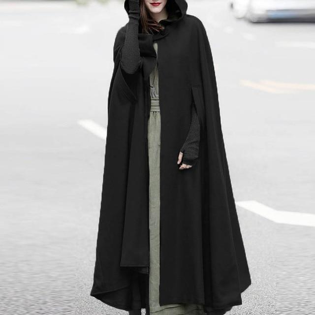 Autumn Cloak Hooded Coat Women Vintage Gothic Cape Poncho Coat Medievalliilgal-liilgal