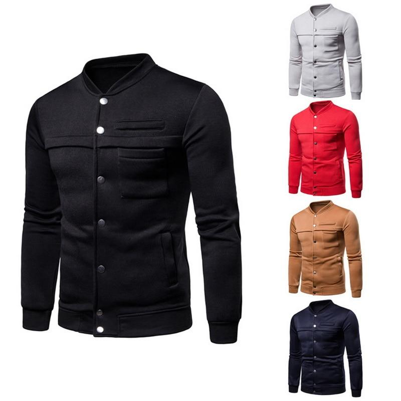 2018 Classic Button Men Jackets Slim Fit Stand Collar Long Sleeveliilgal-liilgal