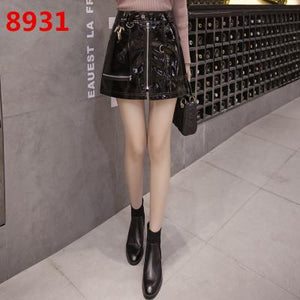 2018 Autumn Sexy Women's Leather Skirt Bright PU Front Zippers Pocket Miniliilgal-liilgal