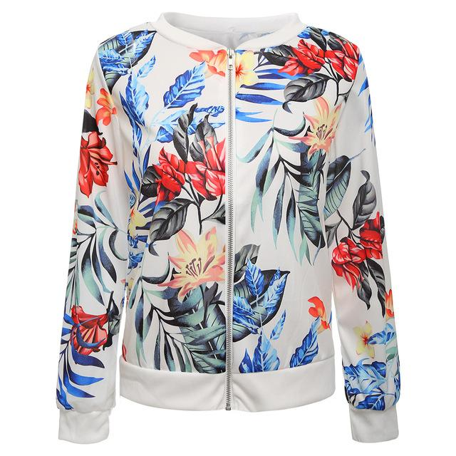 2018 Autumn Plus Size Women Vintage Floral Print Zipper Bomber Jacket Casualliilgal-liilgal