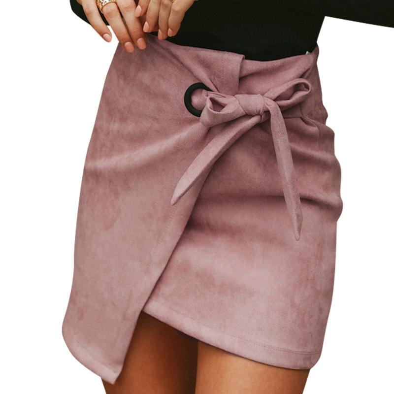 Asymmetrical casual sash bow suede mini skirts women 2018 Autumn Winter skirtsliilgal-liilgal