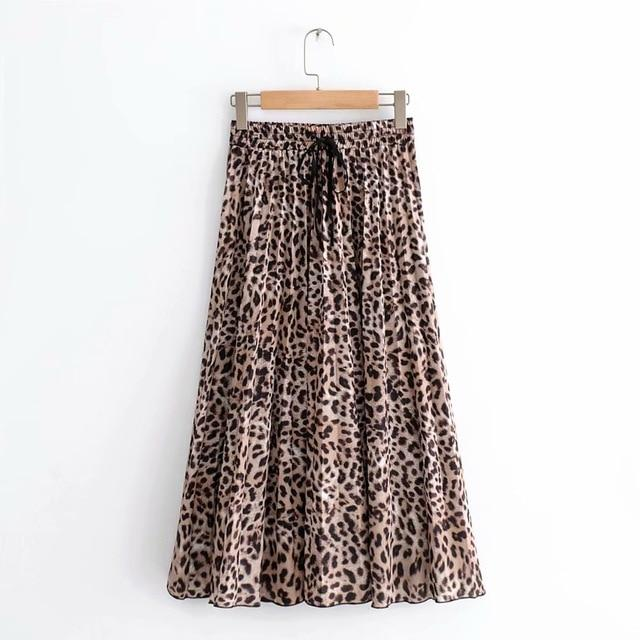 2018 New Women Vintage leopard printing pleated midi skirt faldas mujer ladiesliilgal-liilgal
