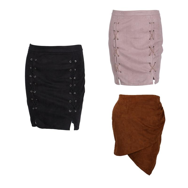 Women High Waist Lace Up Suede Leather Pocket Preppy Fashion Show Thinliilgal-liilgal