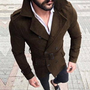 Drop shipping Men's 2018 Winter Wool Warm Turn-down Collar Trench Reefer Jacketsliilgal-liilgal