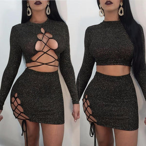 vestidos verano 2018 Creative Design Sexy Womens Long Sleeve Bandage Ladies Miniliilgal-liilgal