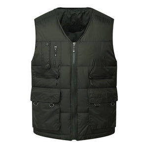 Winter Men Cotton Warm Vest Waistcoat Male Sleeveless Jacket With Many Pocketsliilgal-liilgal