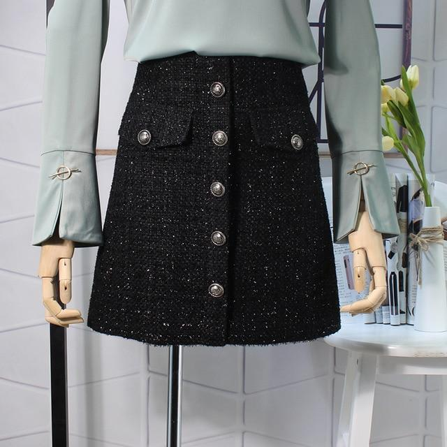 Fall Winter 2018 Plaid Wool Skirt Womens Royal Button Pocket Frontliilgal-liilgal