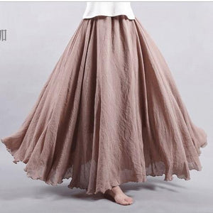 Women Linen Cotton Long Skirts Plus Size Elastic Waist Pleated Maxi Skirtsliilgal-liilgal