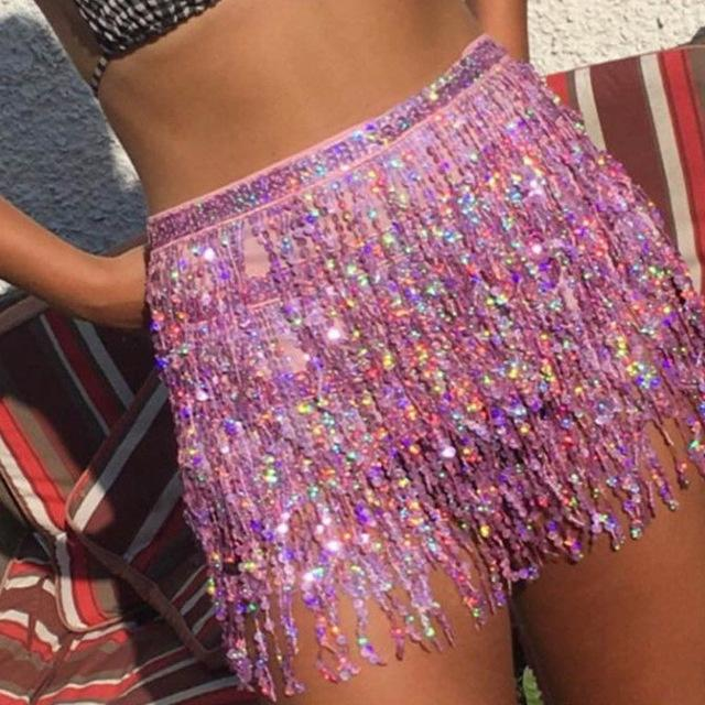 Tassel fringe sequin women Summer style beach short Sequin Belly Dancerliilgal-liilgal
