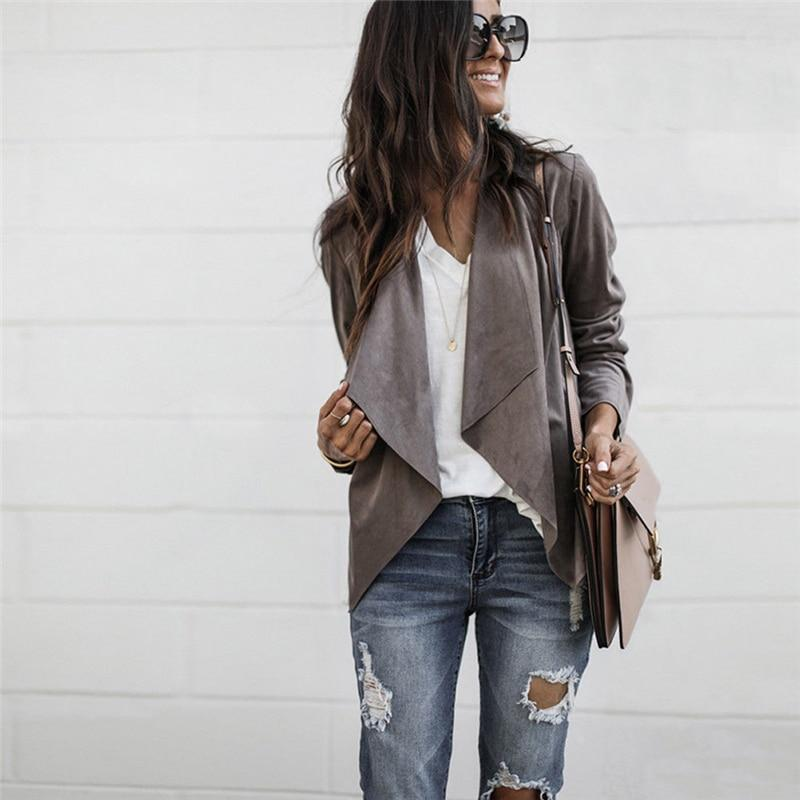 Newest Women Autumn Suede Jacket Female wrap surcoat Ladies Ruffled Long Sleeveliilgal-liilgal