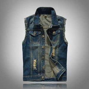 Ripped Jeans Jacket Mens Sleeveless Denim Vest 5XL Jeans Waistcoat Men Vestliilgal-liilgal