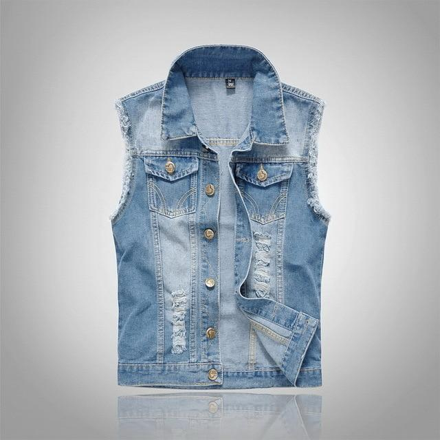 New Spring Autumn 2018 Vintage Classic Design Casual Denim Vest Men Blueliilgal-liilgal