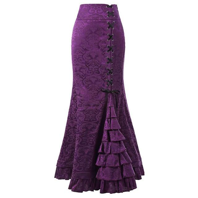 Women Court Vintage Lace Up Floral Jacquard Long Mermaid Skirt Purpleliilgal-liilgal