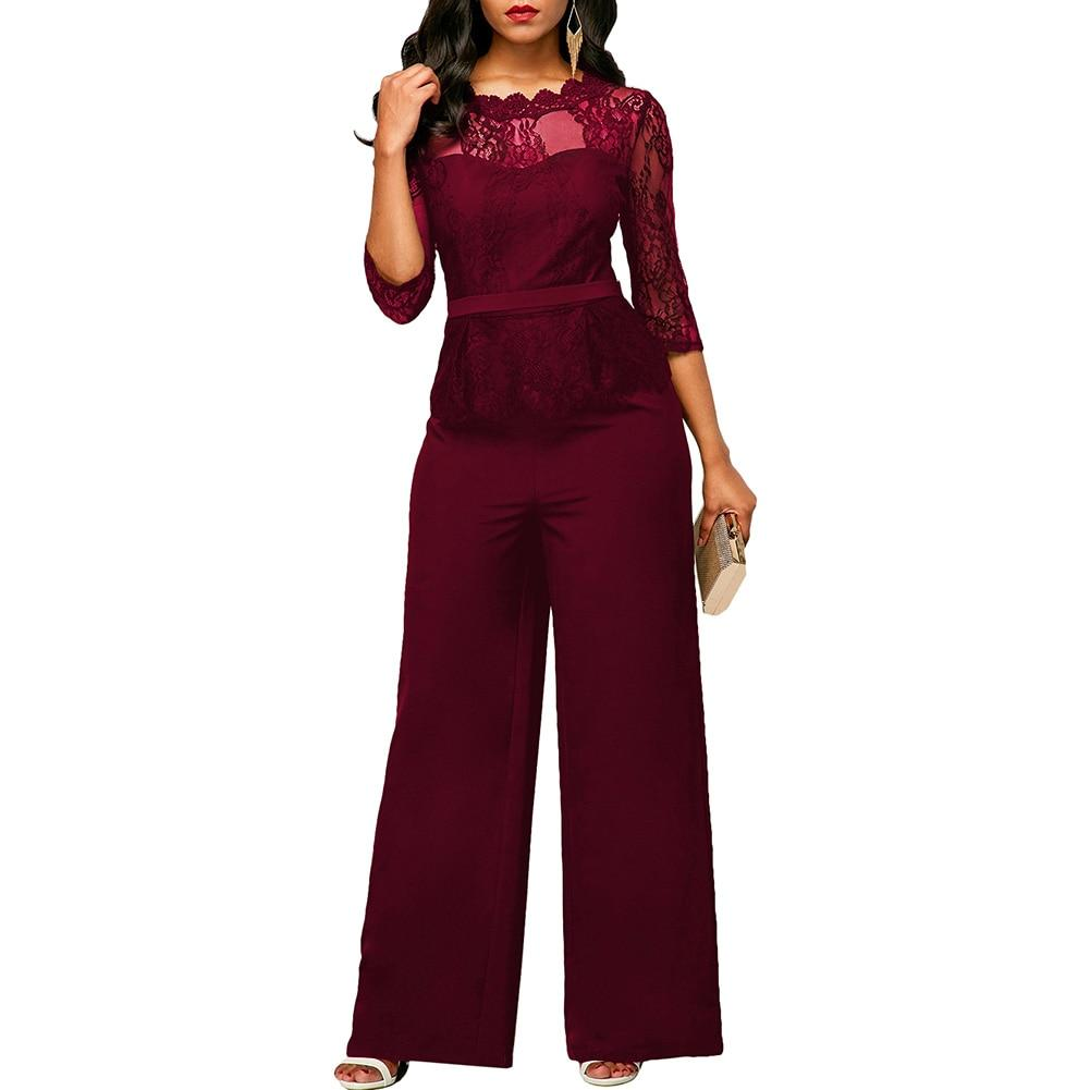 Anself Evening Party Jumpsuits 3/4 Sleeve Lace Patchwork Hollow Out Elegant Wideliilgal-liilgal