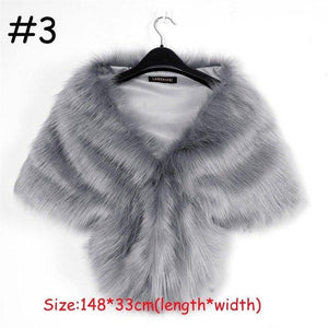 1PC New Fashion Women Faux Fur Long Shawl Stole Wrap Shrug Scarfliilgal-liilgal