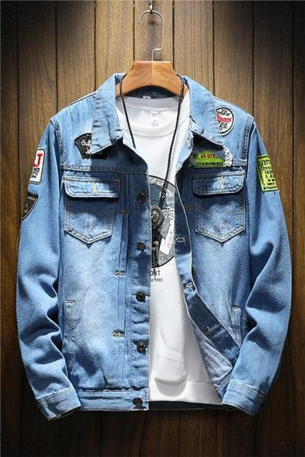 Mens Denim Jacket Plus Size coat 5XL Casual Bomber Jackets Men Highliilgal-liilgal