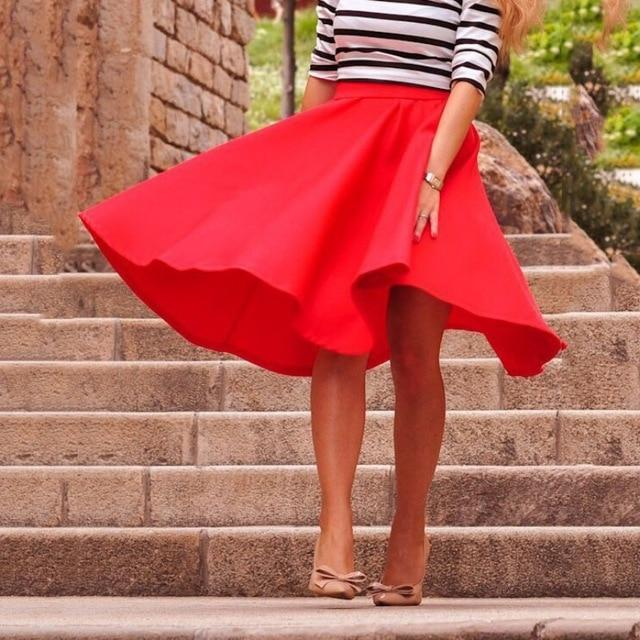 2018 Women High Waist Solid Color Skirt Autumn Pleated Swing Knee-Length Skirtsliilgal-liilgal