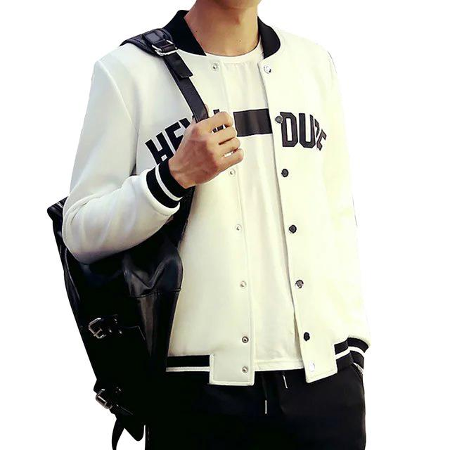 Men Casual Jacket Letter Print Striped Baseball Jacket Snap Buttons Long Sleeveliilgal-liilgal