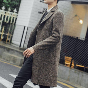 New Men Long Trench Coat Men Fashion Wool Trench Coat Windbreaker Steampunkliilgal-liilgal