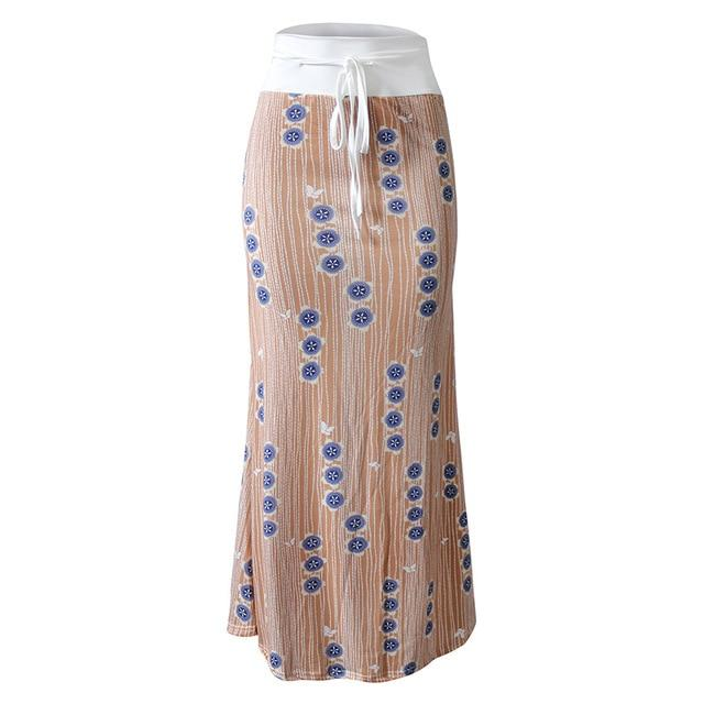 High Waist Elastic Pencil Long Skirt Femme Women's Floral Plaid Skirts Stretchliilgal-liilgal