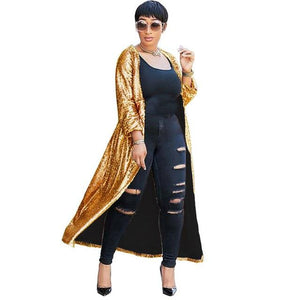 Sparkly Gold Sequin Cardigan Women Autumn 2018 Open Front Long Cardigan Coatliilgal-liilgal