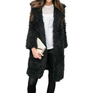 2018 New ladies lapel furry furry warm long coat jacket Winter Springliilgal-liilgal