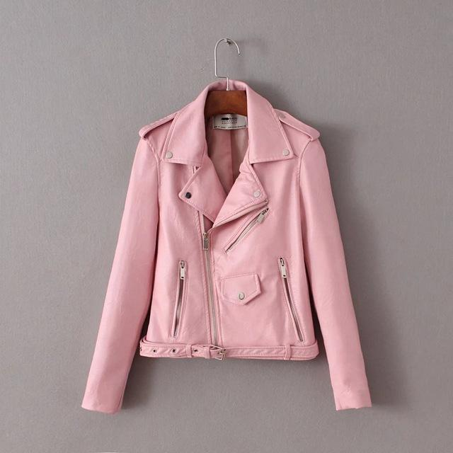 2018 Bright Color Pu Jacket With Belt Decor Turn Down Collar Casualliilgal-liilgal