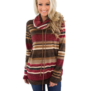 Women Hoodies Sweatshirts Casual Long Sleeve Pullover Hoodie Multi-color Striped Sweatshirt Turtleneckliilgal-liilgal