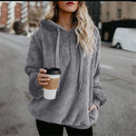 Hoodies Sweatshirt Women 2018 Autumn Winter Warm Loose Hoodies Casual Velvet Solidliilgal-liilgal