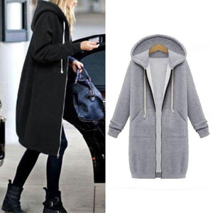 Oversized 2018 Autumn ZANZEA Women Casual Long Hoodies Sweatshirt Coat Pockets Zipliilgal-liilgal