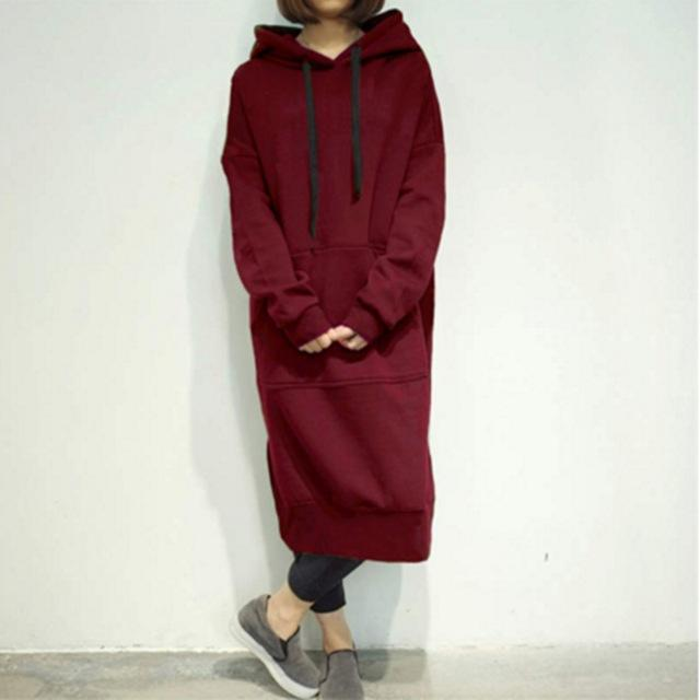 Casual Women Plus Size Spring Autumn Long Pullover Hoodie Fleece Hooded Sweatshirtliilgal-liilgal