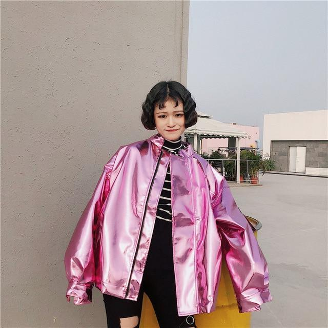 Unisex Harajuku Bomber Laser Zipper Jacket Loose Sunscreen Couples Coat Silver Cardiganliilgal-liilgal