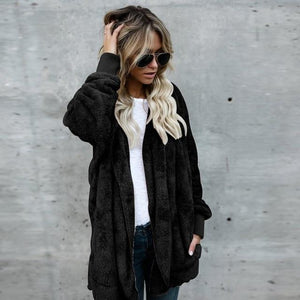 2018 Winter Autumn Women Oversized Warm Cardigan Hooded Jacket Casual Fluffy Solidliilgal-liilgal