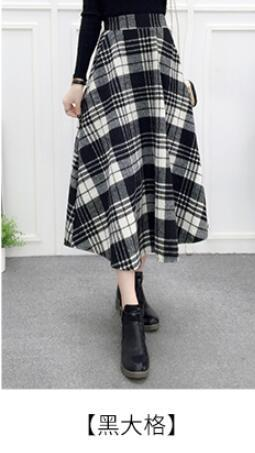 2018 Maxi Skirt Elastic High Waist Autumn Winter Plaid Skirts Long Femaleliilgal-liilgal