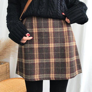 Women's Casual Skirts Japanese Kawaii Ulzzang Vintage Plaid High Waist A-line Skirtliilgal-liilgal