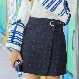 2018 Women'S Harajuku Thickened Woolen Plaid Retro Korean Version High Waist Skirtliilgal-liilgal