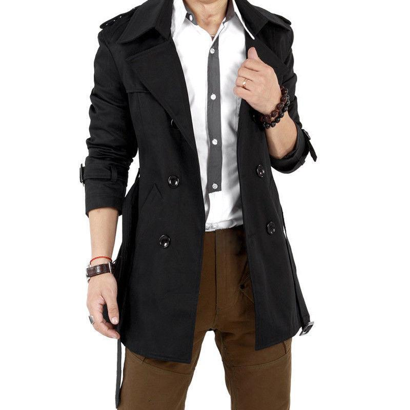 Men Windbreaker Long Fashion Jacket with Double-breasted Buttons Lapel Collar Coatliilgal-liilgal