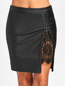 Women Sexy Elegant Zipped Bodycon Pencil Skinny Leather Skirts Lace Insertliilgal-liilgal