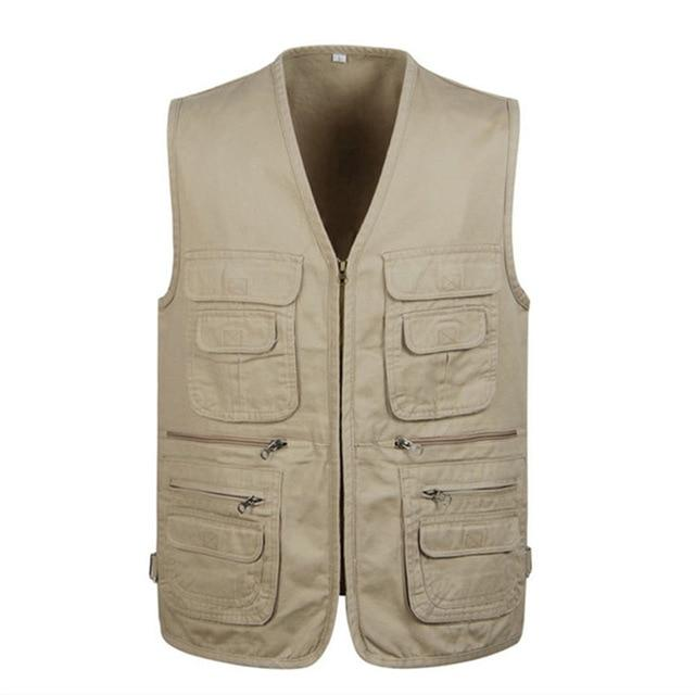Cotton Varsity Vest With Many Pockets For Men Spring Summer Casual Toolliilgal-liilgal