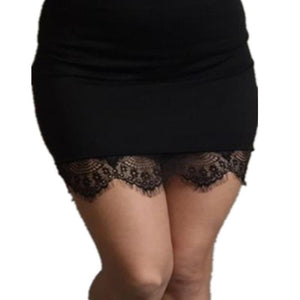 Sexy Women Black Lace Stretch Solid Color High Waist Short Bodycon Miniliilgal-liilgal