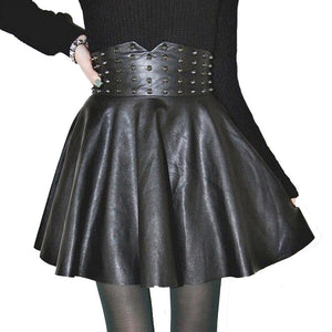 Women Skirt Sexy Fashion PU Leather High Waisted Skirts Womens Rivet Pleatedliilgal-liilgal