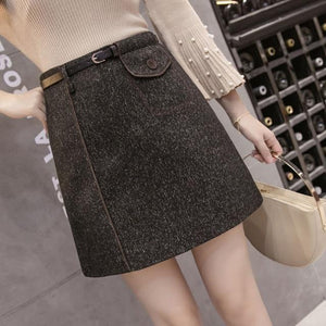 Women's Shorts Skirt 2018 Autumn Winter Mini A-line Vintage Woolen Skirts withliilgal-liilgal