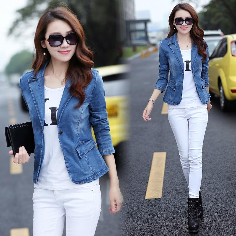 Fall and Spring Women Jeans Jackets 2018 New Vintage Single Breasted Denimliilgal-liilgal
