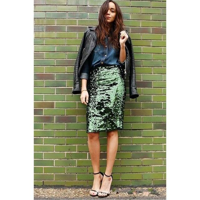 Top Quality Women Green Sequin Zipper Midi Skirt Package Hip Slim Pencilliilgal-liilgal
